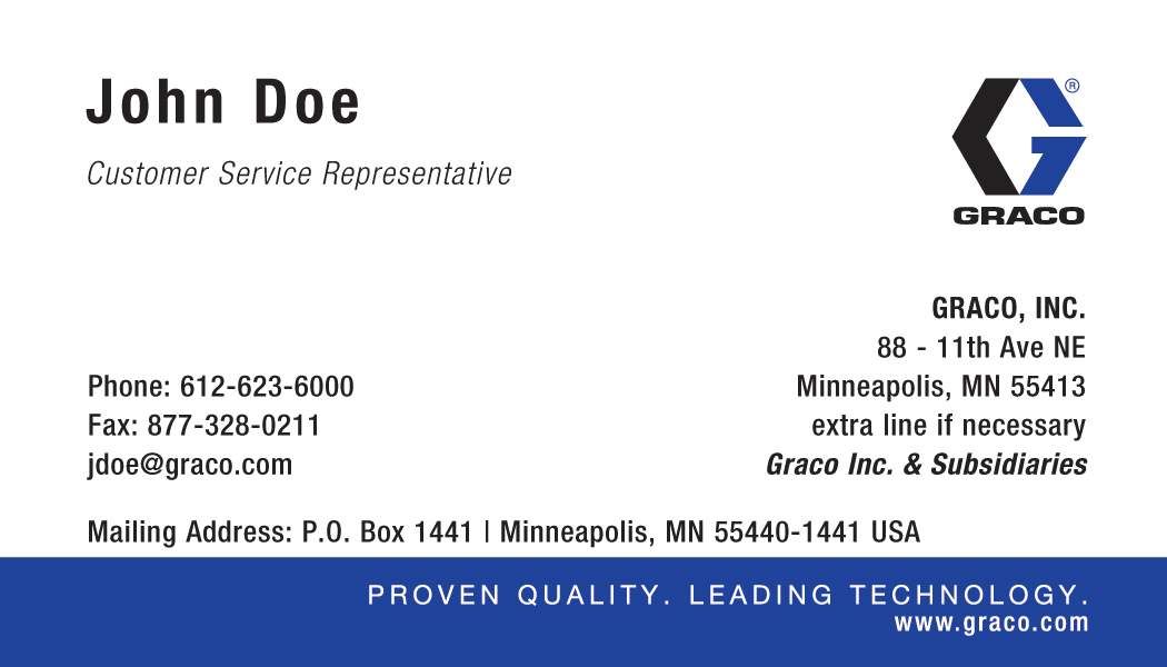 Graco Brand Strategy - Business Cards